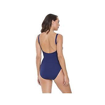 لون أزرق زي واحد قطعة ملابس السباحة للمرأة SY007063 سيسبراي