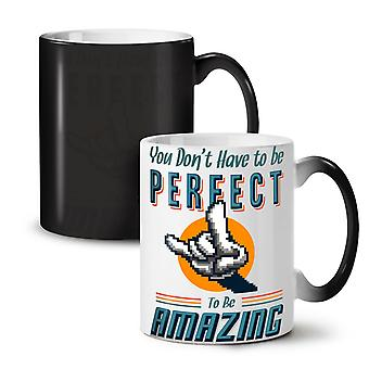 Be Amazing NEW Black Colour Changing Tea Coffee Ceramic Mug 11 oz   Wellcoda