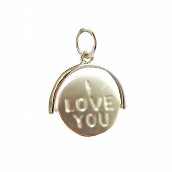 9ct Gold 15x16mm I Love You round spinning disc Pendant or Charm