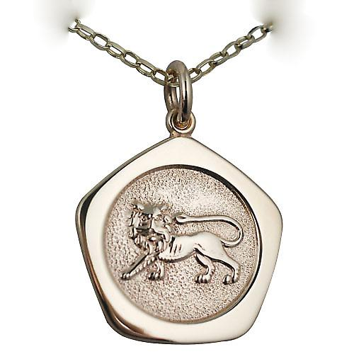 9ct Gold 21mm five sided Leo Zodiac Pendant with a belcher Chain 16 inches Only Suitable for Children