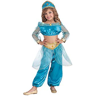 Arabian Princess Jasmine Genie Aladdin Deluxe Story Book Week Girls Costume