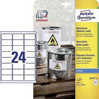 Avery-Zweckform J4773-10 Labels (A4) 63.5 x 33.9 mm Polyester film White 240 pc(s) Permanent All-purpose labels, Weather