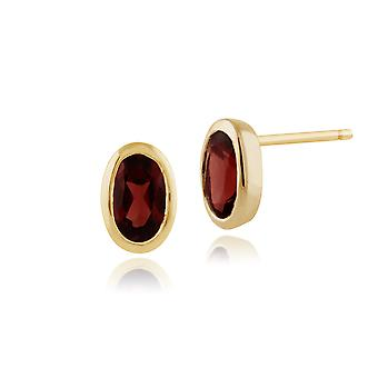 Gemondo 9ct geel goud omlijste ovale 0.56ct Mozambique Garnet Stud Earrings