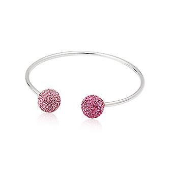Bracelet Bangle 925 Silver and Crystal Rose pearls
