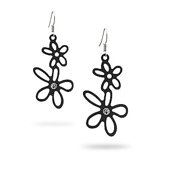 Earrings dangling flowers black silicone