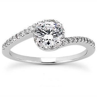 5 / 8ct diamante anillo solitarios 14K oro blanco