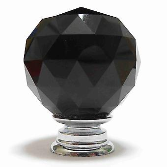 Black Crystal Cut Faceted Glass Knob (M)