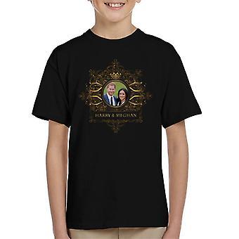Sterne Goldrahmen Harry und Meghan Royal Hochzeit Kinder T-Shirt