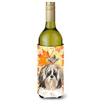 Fall Leaves Shih Tzu Wine Bottle Beverge Insulator Hugger