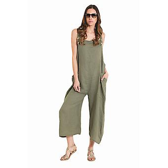 Ladies Lightweight Loose Fit Linen Dungarees - Green One Size Wide Leg Overalls