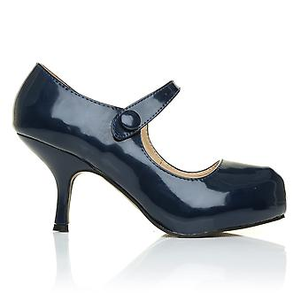 H213 Navy Blue Patent PU Leather Stiletto Mid Heel Mary Janes Shoes