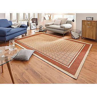 Design carpet flat weave classy with border lichens optics terracotta