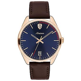 Scuderia Ferrari Mens Abetone Brown Leather Strap Blue Dial 0830500 Watch