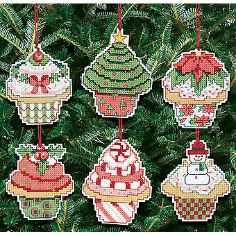 Christmas Cupcake Ornaments Counted Cross Stitch Kit-3