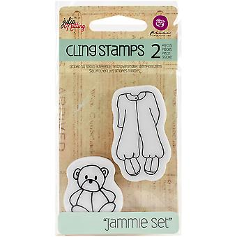 Julie Nutting Mixed Media Cling Rubber Stamps-Baby Jammie Set 2.5