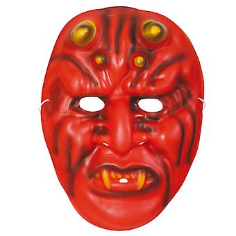 Demone di orrore maschera diavolo metà Maschera Halloween morbido rosso