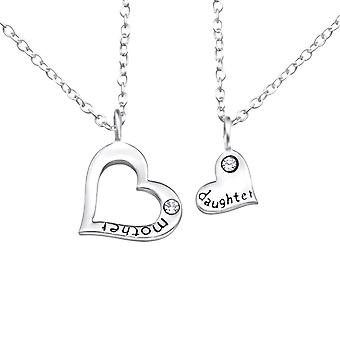 Mother And Daughter - 925 Sterling Silver Jewelled Necklaces