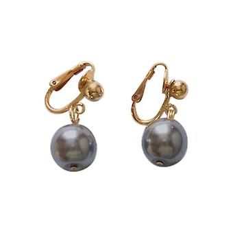 Gemshine - ladies - clip - earrings pearls - Tahitian - grey - gold plated - 12 mm