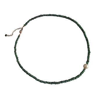 Ädelsten kedja grön smaragd och 9 mm pärla halsband guldpläterad