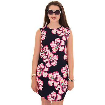 Ladies Sleeveless Floral Flower Print Oversize Tunic Top Short Casual Dress