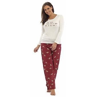 Ladies Foxbury Robin Xmas Print Winter Long Pyjama pajama Sleepwear
