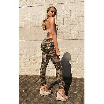 IKRUSH женские Кармель тощий камуфляж высотных разорвал джинсы
