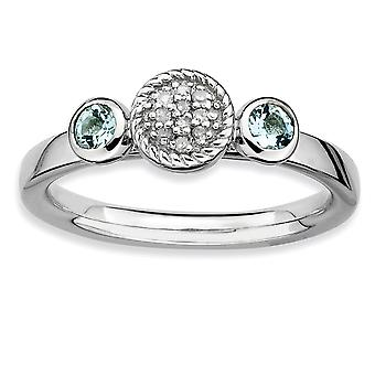 Sterling Silver Bezel Polished Prong set Rhodium-plated Stackable Expressions Db Round Aquamarine and Dia. Ring - Ring S