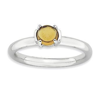 2,5 mm Sterling Silver polerat stift uppsättning stapelbar uttryck Citrin rodium-plated Ring - Ring storlek: 5 till 10