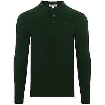 Lambretta Mens Knit Long Sleeve Cotton Casual Polo Shirt Tee Top - Dark Green