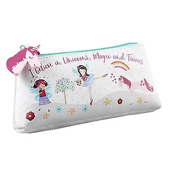 Girls white unicorns and fairies pencil case