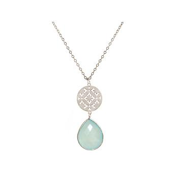 GEMSHINE ladies necklace with mandala and sea-green chalcedony. Rose gold 45 cm necklace or pendant made of silver, gold plated. Made in Madrid, Spain. In the elegant gift box.
