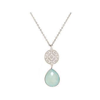 GEMSHINE damer halsband med mandala och havet-grön Kalcedon. Rose guld 45 cm halsband eller hängsmycke av silver, guldpläterad. Tillverkad i Madrid, Spanien. I den elegant presentask.