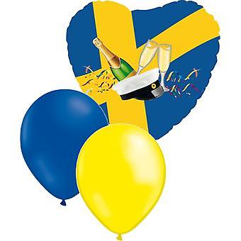 Matka Folieballong + 10 keltainen & 10 sininen latex ilmapallot