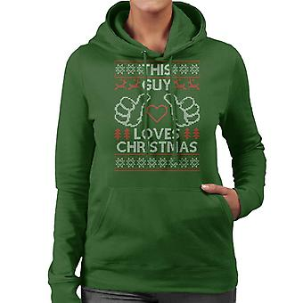 This Guy Loves Christmas Knit Pattern Women's Hooded Sweatshirt