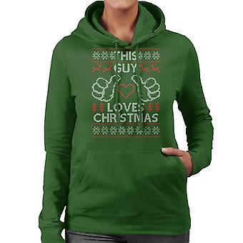 Dieser Kerl liebt Weihnachten Strickmuster Damen Sweatshirt mit Kapuze