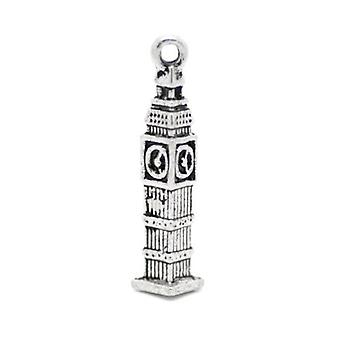 Packet 7 x Antique Silver Tibetan 25mm Big Ben Charm/Pendant ZX05955