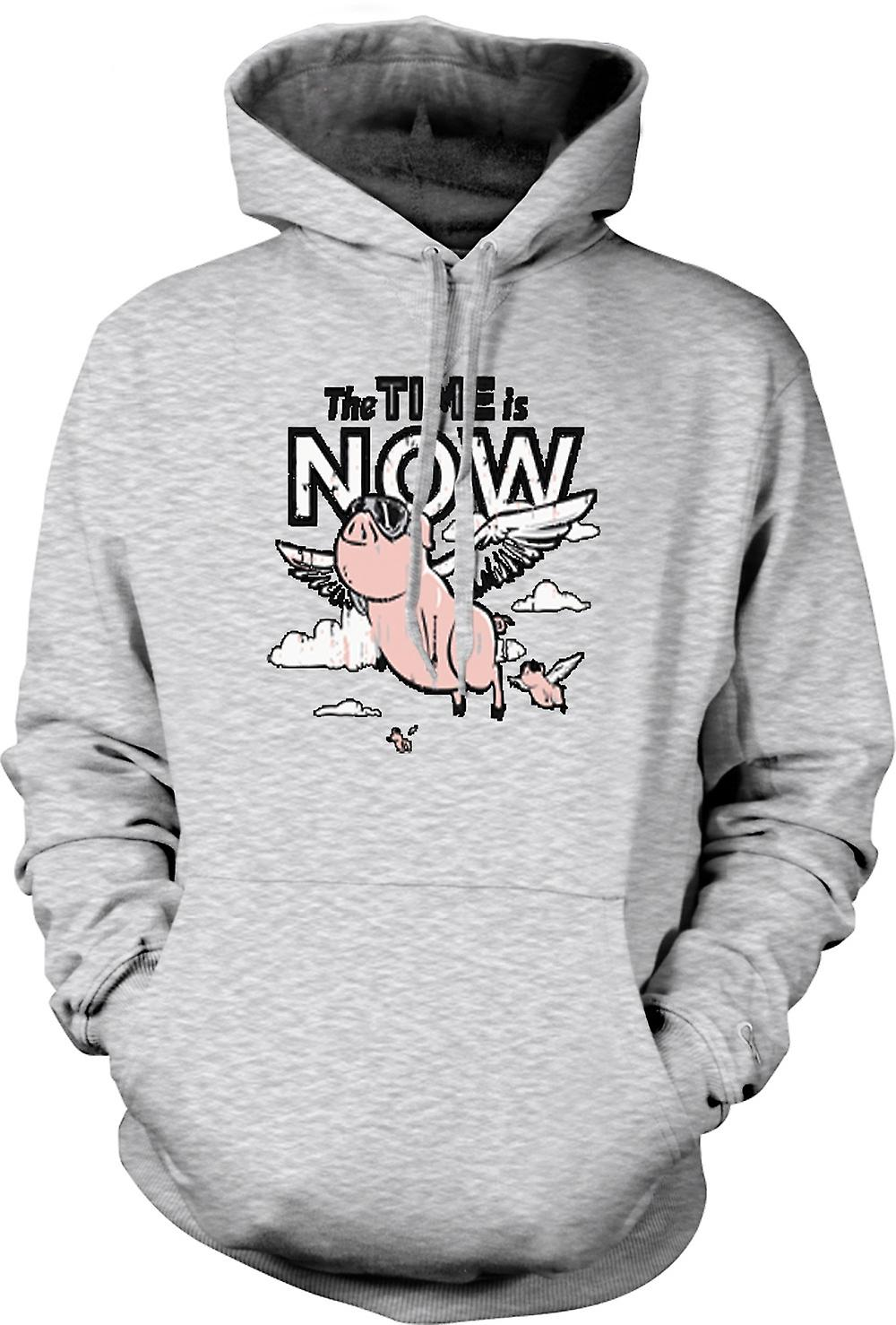 Mens Hoodie - The Time Is Now Pigs Can Fly