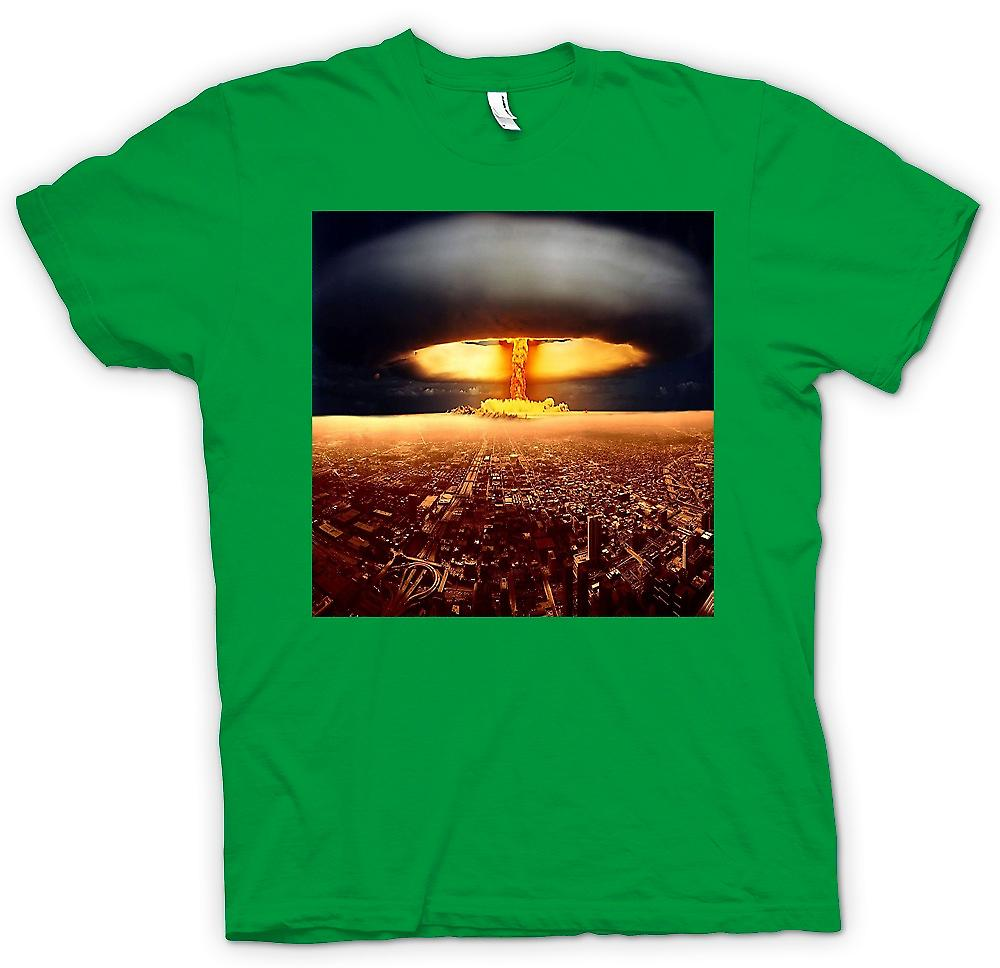 Mens T-shirt - Nuclear Mushroom Cloud On City - Cool