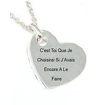 TOC Silvertone 'Cest Toi Que Je Choisirai...' Love Heart Pendant On 18