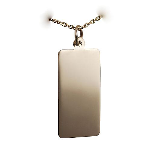 9ct Gold 26x13mm plain rectangular Disc with a bright cut cable link chain