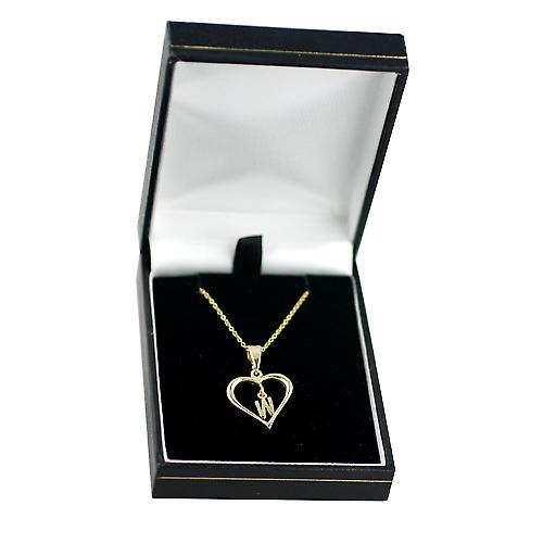 9ct Gold 18x18mm initial W in a heart with Cable link chain