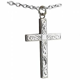 Silver 40x25mm hand engraved solid block Cross with a cable Chain 24 inches