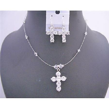Clear Crystals Cross Pendant Necklace Set Cross Earrings Jewelry Set