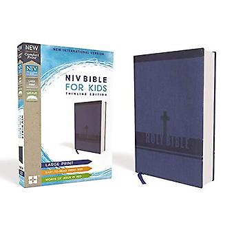 NIV Bibeln för barn, storstil, konstläder, blå, röd bokstav Edition, Comfort tryck: Thinline Edition