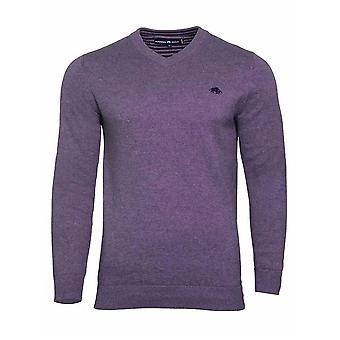 V-Neck Cotton/Cashmere Sweater - Purple