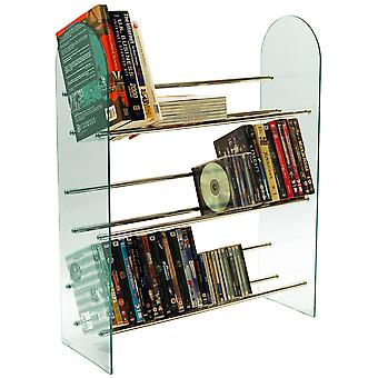 Luxor - 3 Stufe 171 Cd / 117 Dvd Media Storage Shelf Rack - Glas / Chrom