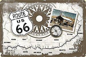 Route 66 Compass/Map embossed metal sign