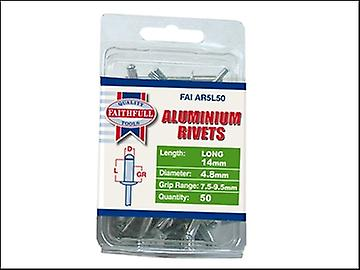 Faithfull Aluminium Rivets 4.8mm x 14mm Long Pre-Pack of 50