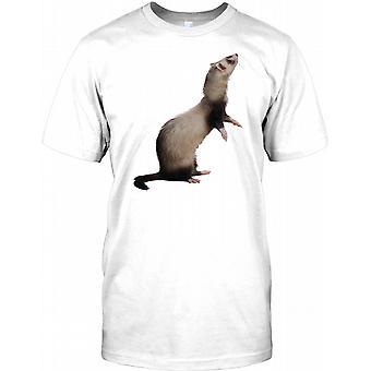 Adorable Black and White Pet Ferret Kids T Shirt