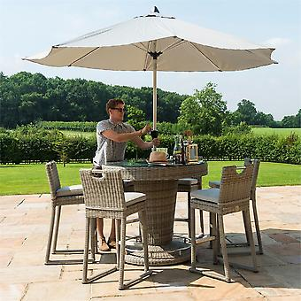 Maze Rattan Oxford 6 Seater Round Bar Set With Ice Bucket